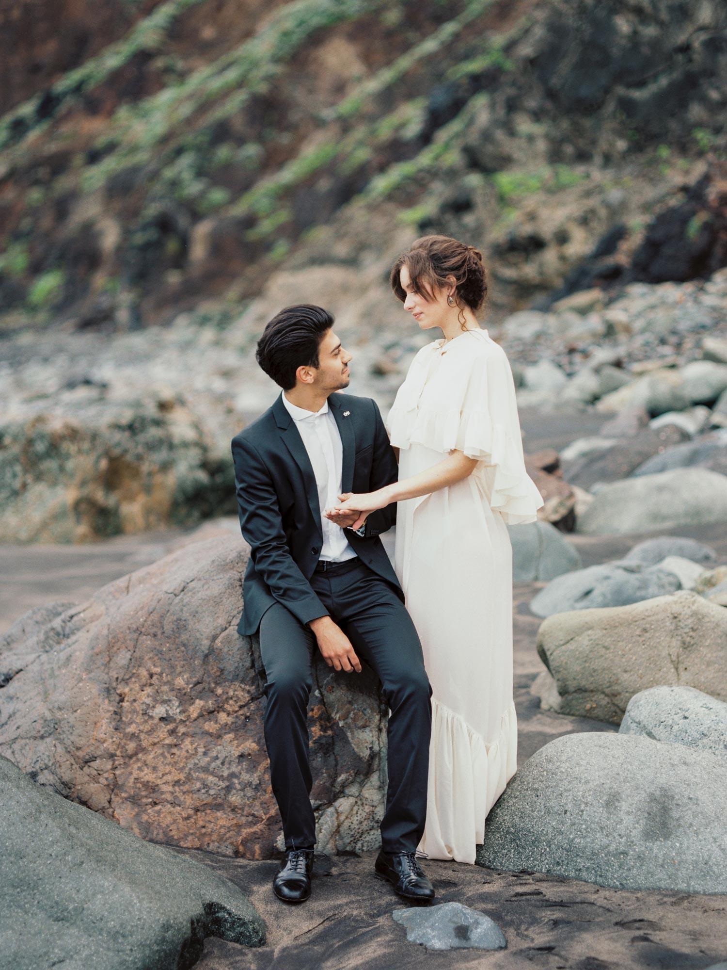 wedding in volcanic beach