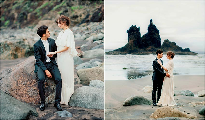 Wedding in volcanic beach