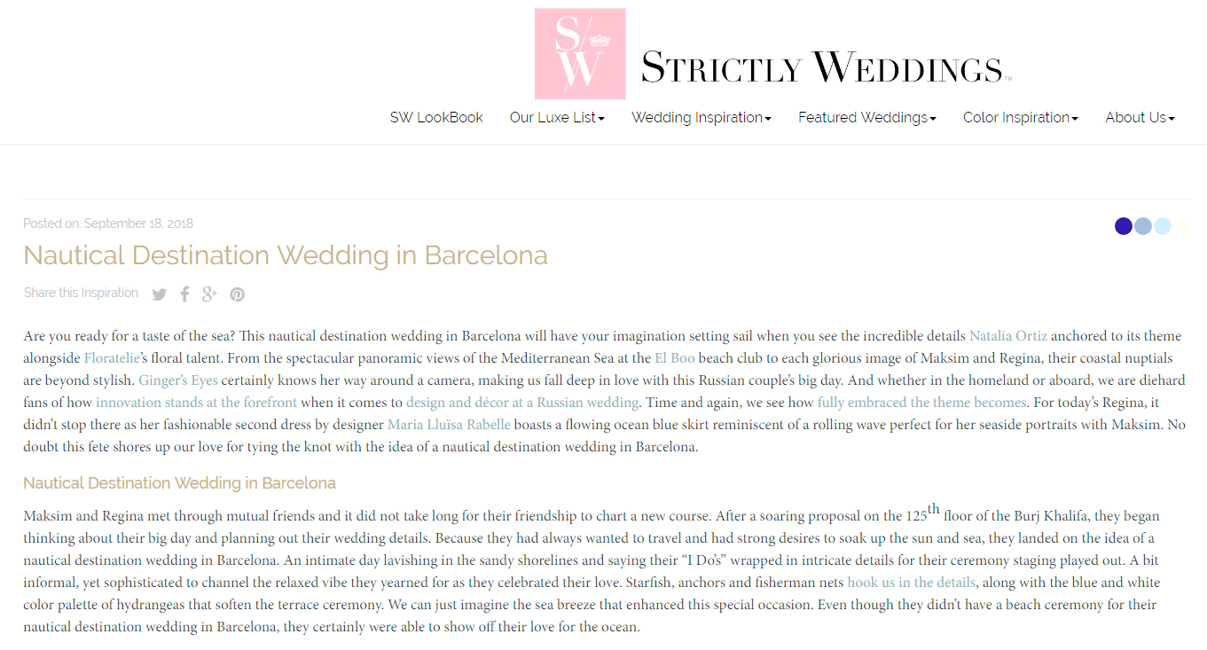 Natalia Ortiz en Strictly weddings